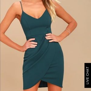 Lulu's Forever Your Girl Teal Bodycon Dress Sm